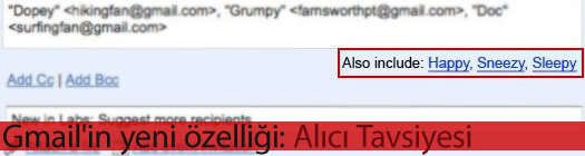 Gmail'in yeni özelliği: Alıcı Tavsiyesi