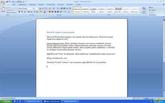 Word ile yalnızca yazı yazmak
